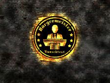 LED Wandbild aus Holz 3D Schild Bürgermeister Sign Leuchtreklame T-shirt Stadt