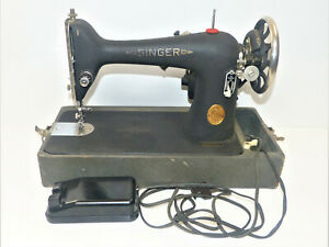 1939 Vintage Wrinkle Finish Singer 66 Sewing Machine w/ Case Tested-Working INV