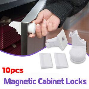 10PCS Sécurité Serrures Magnétique Cabinet Armoire à Tiroirs Set Pr Enfant Bébé