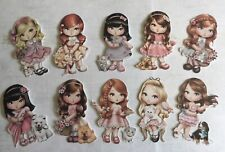 Vintage Dolly Girls X10 Card Making Topper Crafts Die Cut