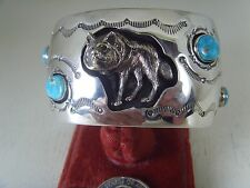 Wolf Shadow Box Turquoise Bracelet .925 Sterling Signed By Running Bear R.B