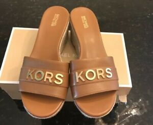 NWT Michael Kors Brady Leather Wedge Platform Sandals Size 7