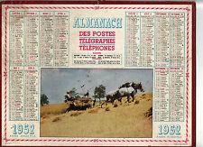 CALENDRIER, ALMANACH PTT - ANNEE 1952 - FENAISON