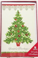 Christmas Holiday Tree Cards Seasons Greetings Gold Accents 16ct New