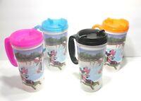 4 Disney Park Travel Mugs 16oz Insulated Mickey,Minnie,Donald,Goofy & Pluto
