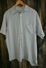 Alfani 100% Silk Dress Shirt Large Blue S/S Men's Button Up Pocket Pearl Buttons