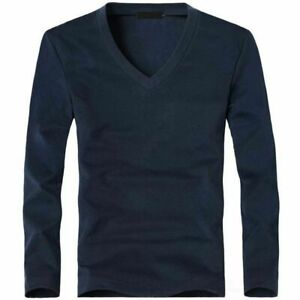 Elastic Men T Shirt V Neck Long Sleeve Lycra and Cotton For Male Casual Fashion