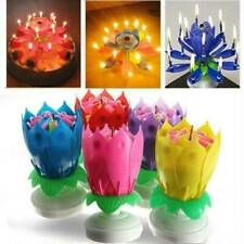 Magic Birthday Cake Lotus Flower Candle Blossom Musical Rotating Decoration Gift