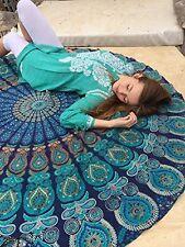 Indian Blue Round Wall Hanging Beach Throw Towel Yoga Mandala Peacock Tapestry
