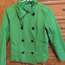 Women's L-RL Ralph Lauren double breasted green rain coat sz petite 4P NWT $198