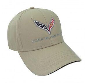 C7 Corvette Khaki Tan Beige Cotton Twill Hat Logo Licensed Chevy
