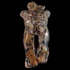 BG10019# Natural Hand Carved Leopard Petrified Wood Opal  pendant Bead