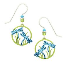 Sienna Sky Dragonflies Earrings Blue Green Hand Painted Made in USA 925 Sterling