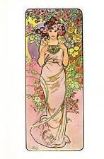 "Alphonse Mucha 1976 Authentic Vintage Art Nouveau Print ""ROSE"" LIBRO Piastra"