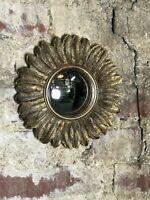 Glace / miroir plumes doré patiné avec oeil de sorcière Diam 22 cm