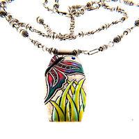 Vintage Chico's Butterfly Cloisonne Enamel Pendant Necklace Double Strand