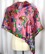 Niki de Saint Phalle Jean Tinguely Museum 100% Silk Scarf Pink HTF France 34x34