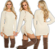 KOUCLA Chunky Knitted Long Jumper Lacing Dress Mini Pullover Beige