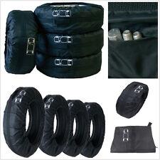 4 Pcs Nylon Car Van Seasonal Spare Tyre Tire Storage Bags Protector Covers Black