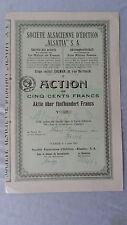 Societe Alsacienne D'Edition Alsatia S.A.-Aktie über 500 Francs-1921-Colmar