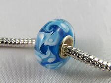 SINGLE SILVER CORE BLUE MURANO GLASS BEAD FOR EURO STYLE CHARM BRACELETS MSB 545