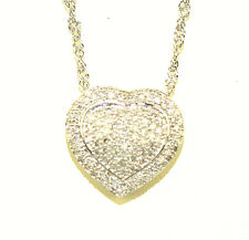 14K WHITE GOLD PAVÉ DIAMOND HEART PENDANT ON 14K ROPE TWIST 24 INCH NECKLACE