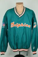 Vintage Starter Miami Dolphins NFL Large Embroidered Nylon Side Zip Pullover EUC