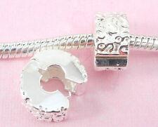 10pcs Silver Clip Lock Stopper Beads Fit Bracelet T08
