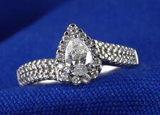3/4 CT Genuine Diamond Ring  G SI 2  Pear Shaped Center Diamond