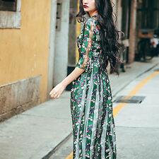 Création! Robe longue doublée élégance naturelle imprimés floraux T.38 LYQ0526