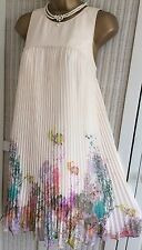 TED BAKER Wispy Meadow Size 2 10 Cream Pink Floral Dress Holiday Party Wedding