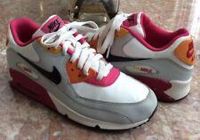 premium selection 8440b f7ce1 Nike Air Max 90 Kids White Black-Neutral Grey-Fireberry Shoes Sz 6.5Y