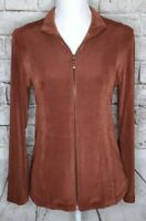 Chicos Travelers 0 Zip Up Jacket Stretch Long Sleeves Pockets Coffee Bean Brown