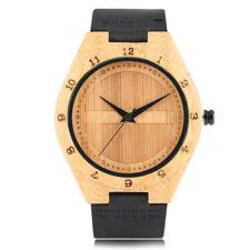 Fashion Bamboo Black/Brown Genuine Leather Band Men Quartz Wrist Watch Bangle