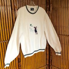 Cypress Links Men's Golf Sweater Crew Neck Long Sleeves Cotton Ivory Large