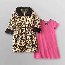 Holiday Editions Girls 2PC Brown Fleece Leopard Print Coat~PINK Velour DRESS Set
