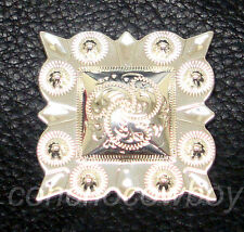 """WESTERN HORSE HEADSTALL SADDLE TACK BRIGHT SILVER SQUARE BERRY CONCHO 1-1/2"""""""