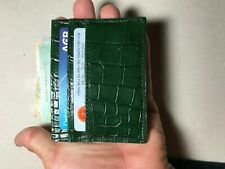 DARK GREEN GENUINE CROCODILE s  Leather Skin CARDHOLDER