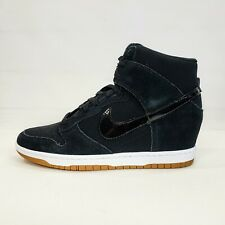 NEW Nike Dunk Sky Hi Essential Wedge Heel Shoes Women's 10 Black Gum 644877-011