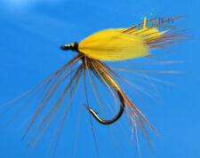 12 PCS Yellow fly fly fishing  gold Trout Flies fly fishing #10 W/ Free Box D706