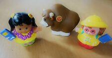3 x FISHER PRICE LITTLE PEOPLE FIGURES  ALPHABET ZOO & TWO GIRL SCHOOL AEROPLANE