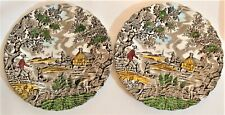 2 x Vintage Myott The Hunter Side Plates Hand Engraved permanent Colours England