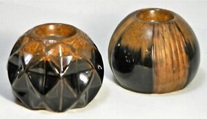 Candle Holders Tea Light Ceramic Ball Sphere Brown Black Modern Geometric 2