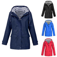 Women Raincoat Waterproof Outdoor Jacket Hooded Overcoat Outwear Coat Cas RR