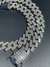 """Mens 18mm Baguette Prong Cuban Chain Solid 925 Silver 18"""" Choker - 30"""" Real Iced"""