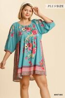 Umgee Mint Mix Botanical Floral Print 3/4 Sleeve Dress Plus Size XL 1X