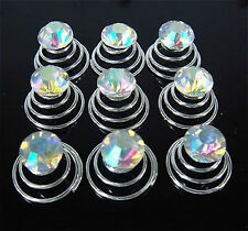 20Pcs AB Crystal Color Wedding Clear Crystal Hair Twists Spins Pins