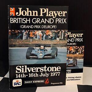 1977 SILVERSTONE BRITISH GP F1 RACE PROGRAMME JAMES HUNT WIN GILLES VILLENEUVE