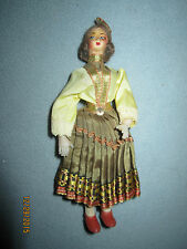 """Vintage 6"""" travel souvenir doll, traditional dress from Belgium, fabric face"""