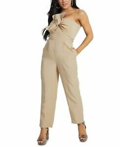 Guess Womens Jumpsuit Beige US Size Small S Stripe Strapless Bow-Front $128 266